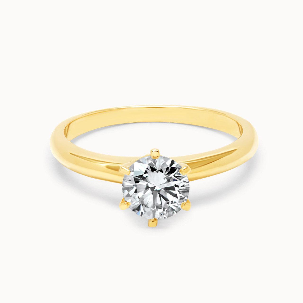 Einkaräter Diamantring Gelbgold Klassik